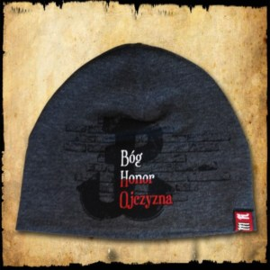 czapka bog honor ojczyzna szara detal