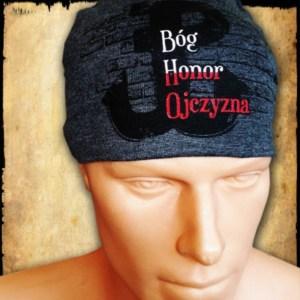 czapka bog honor ojczyzna szara przod