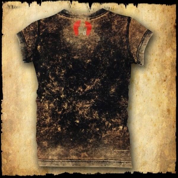 koszulka damska, czaszka magna, brąz spierany tyl
