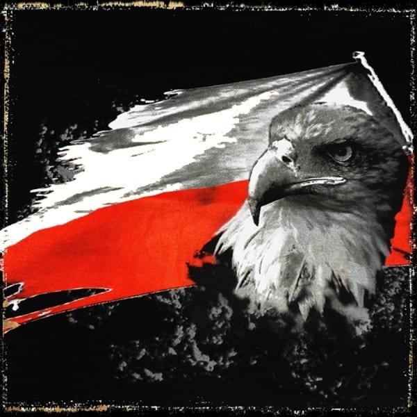 koszulka patriotyczna damska - flaga czarna detal