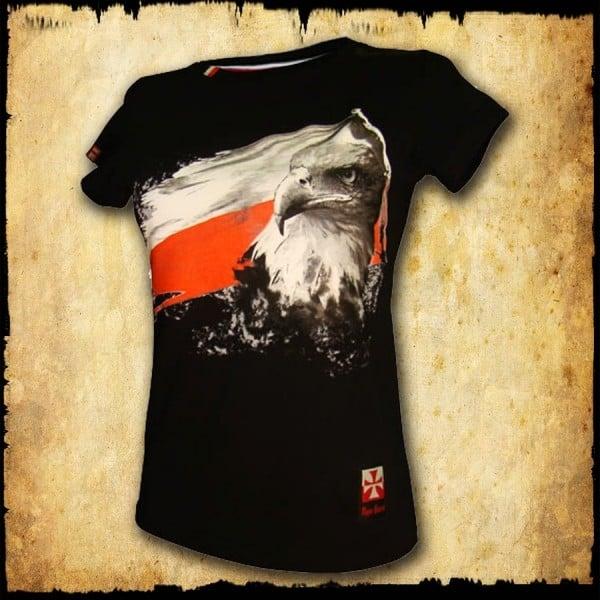 koszulka patriotyczna damska - flaga czarna przod