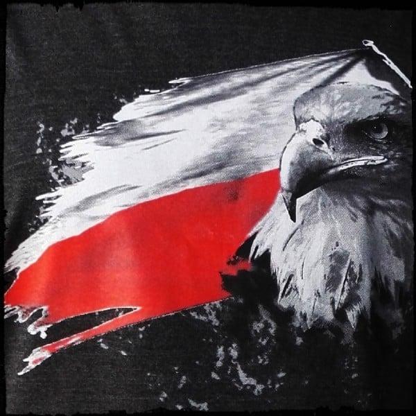 koszulka patriotyczna, damska - flaga szara c. detal