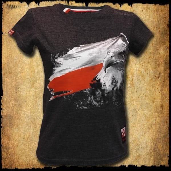 koszulka patriotyczna, damska - flaga szara c. przod