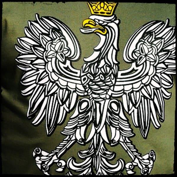 koszulka patriotyczna damska - godło zielona detal