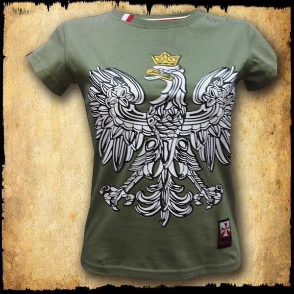 koszulka patriotyczna damska - godło zielona przod