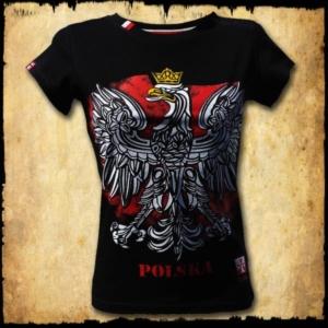 koszulka patriotyczna, damska - godło, czarna przod