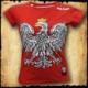koszulka patriotyczna, damska - godło, czerwona przod