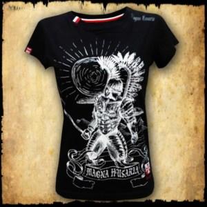 koszulka patriotyczna, damska - husarz, czarna przod