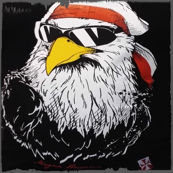 koszulka patriotyczna, damska - luzak, czarna detal