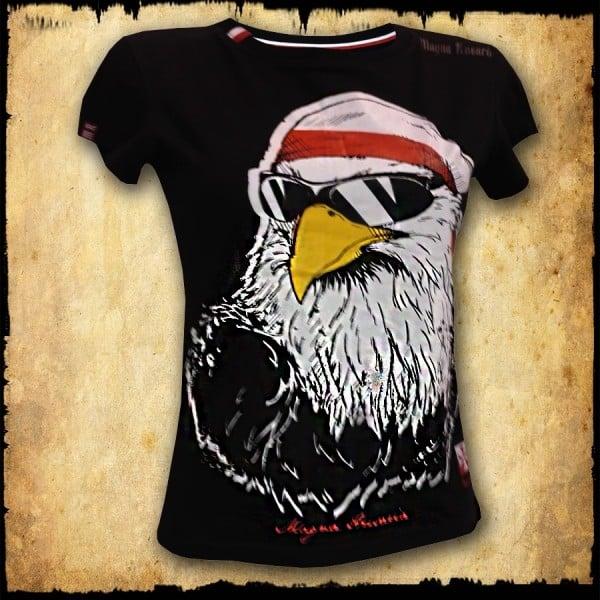 koszulka patriotyczna, damska - luzak, czarna przod