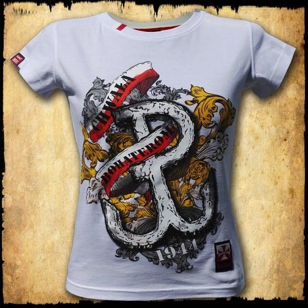 koszulka patriotyczna, damska - pw, biała przod
