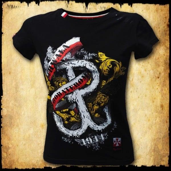 koszulka patriotyczna, damska - pw, czarna przod