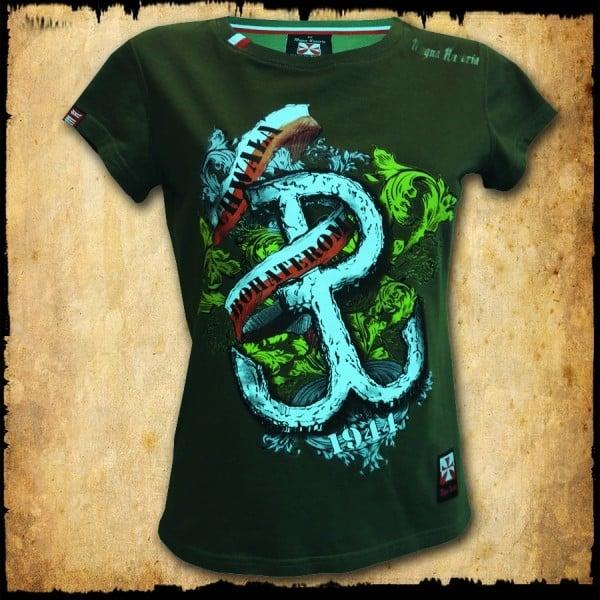 koszulka patriotyczna, damska - pw, zielona przod