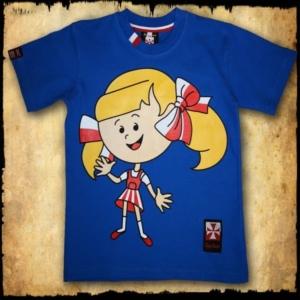 koszulka patriotyczna, dziecięca DZIEWCZYNKA PRZOD NIEBIESKA