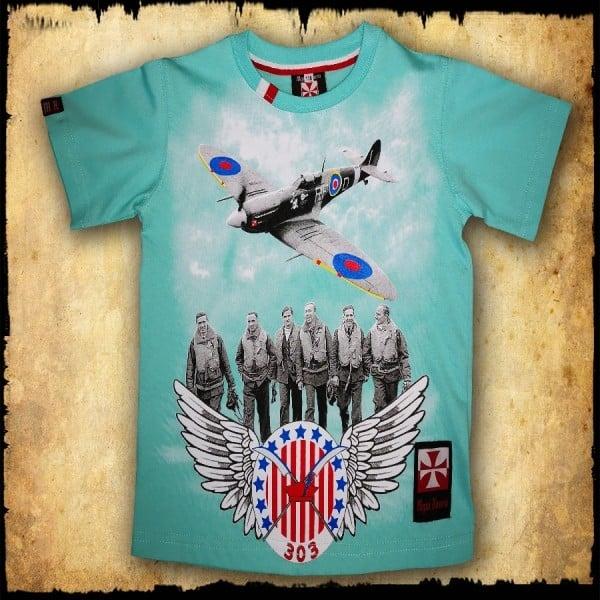 koszulka patriotyczna, dziecięca 303 SELEDYNOWA PRZOD