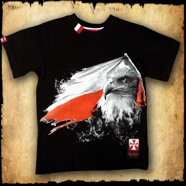 koszulka patriotyczna, dziecięca FLAGA CZARNA PRZOD
