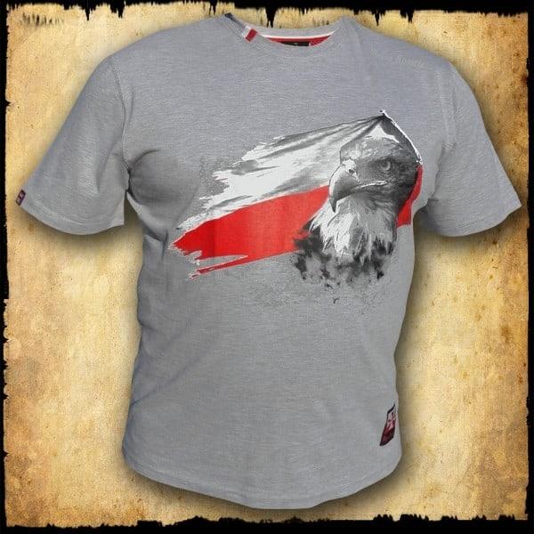 koszulka patriotyczna, męska - flaga, szara j. przod