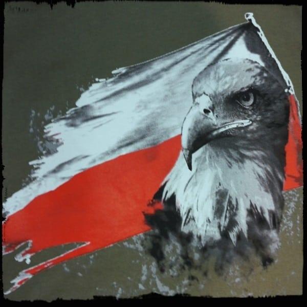 koszulka patriotyczna, męska - flaga, zielona detal