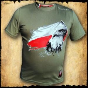 koszulka patriotyczna, męska - flaga, zielona przod