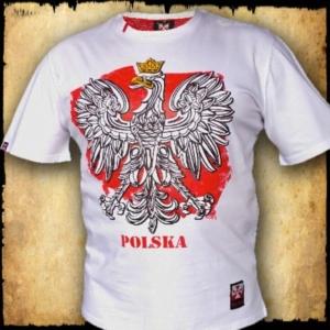 koszulka patriotyczna, męska - godło, biała przod