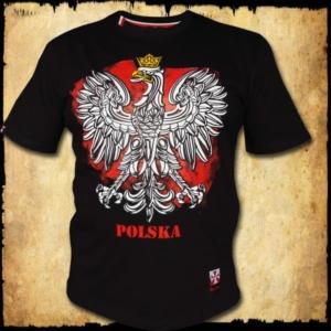koszulka patriotyczna, męska - godło, czarna przod