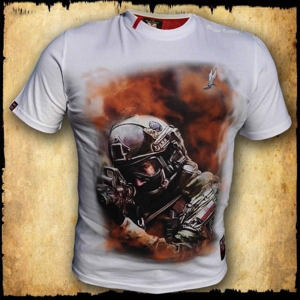 koszulka patriotyczna, męska - grom, biała przod