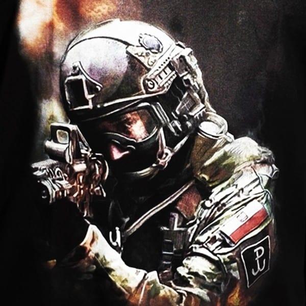 koszulka patriotyczna, męska - grom, czarna detal