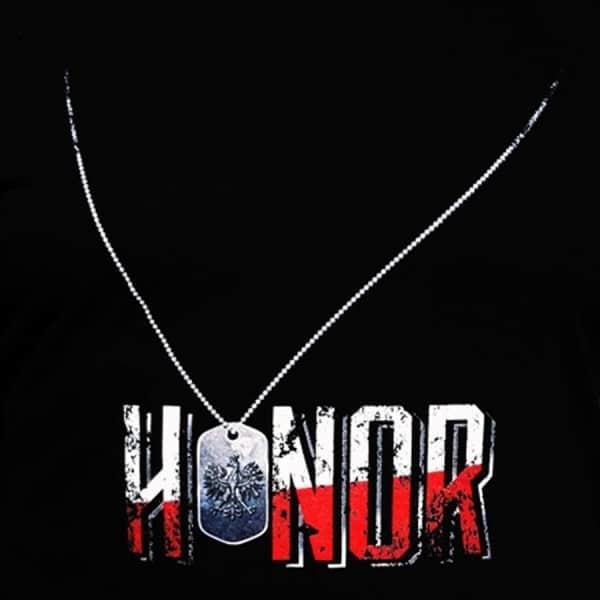 koszulka patriotyczna, męska - honor, czarna detal