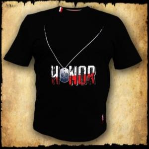 koszulka patriotyczna, męska - honor, czarna przod