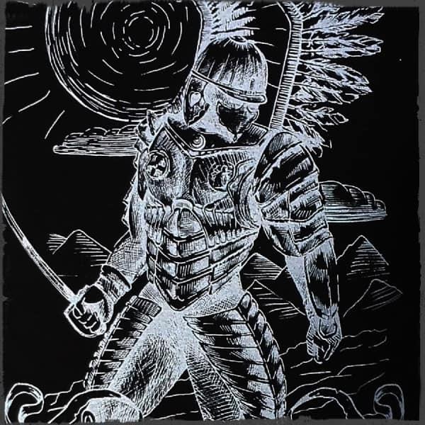 koszulka patriotyczna, męska - husarz, czarna detal