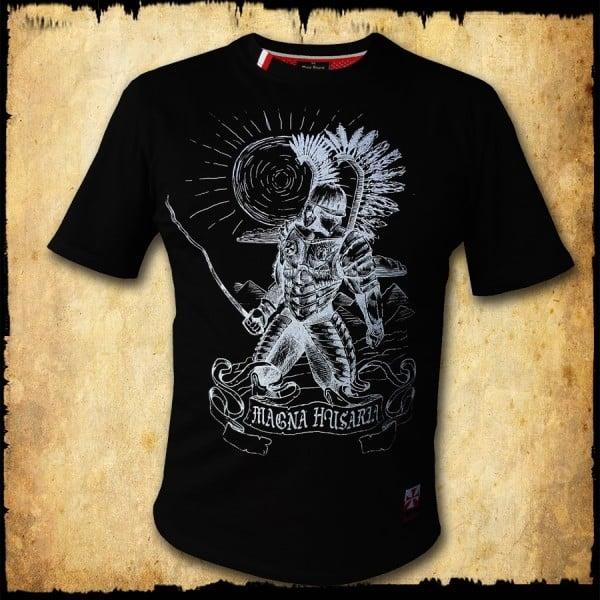 koszulka patriotyczna, męska - husarz, czarna przod