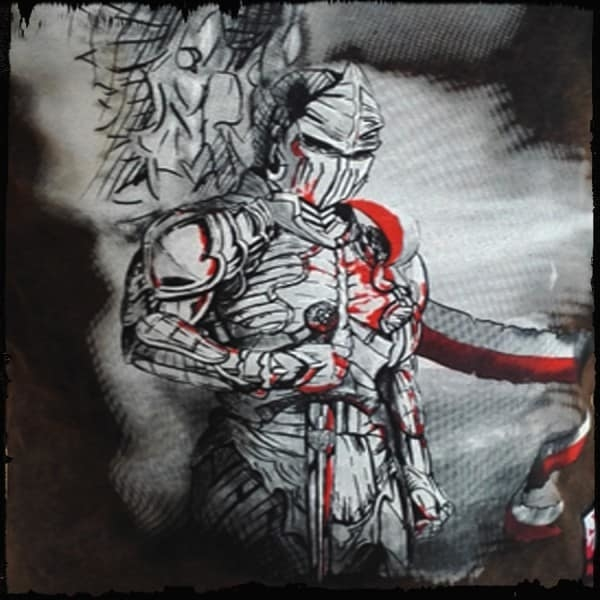 koszulka patriotyczna, męska - husarz futura, brąz spierana detal