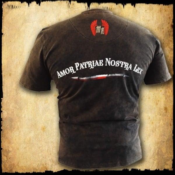koszulka patriotyczna, męska - husarz futura, brąz spierana tyl