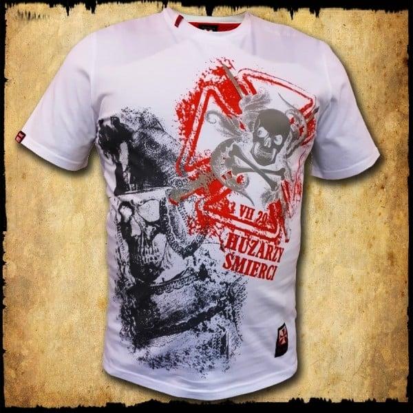 koszulka patriotyczna, męska - huzarzy śmierci, biała przod