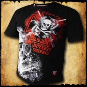 koszulka patriotyczna, męska - huzarzy śmierci, czarna