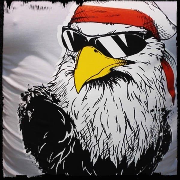 koszulka patriotyczna, męska - orzeł luzak, biała detal