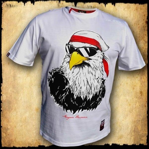 koszulka patriotyczna, męska - orzeł luzak, biała przod