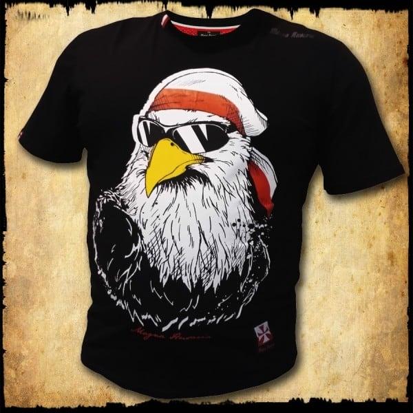koszulka patriotyczna, męska - orzeł luzak, czarna przod