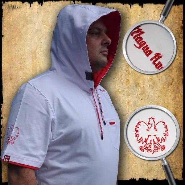 koszulka patriotyczna, męska - POLSKA, biała detal 1