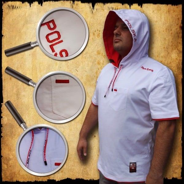 koszulka patriotyczna, męska - POLSKA, biała detal 2
