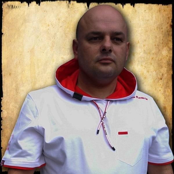 koszulka patriotyczna, męska - POLSKA, biała przod