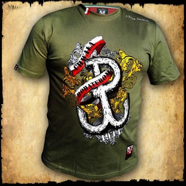 koszulka patriotyczna, męska - pw. zielona przod