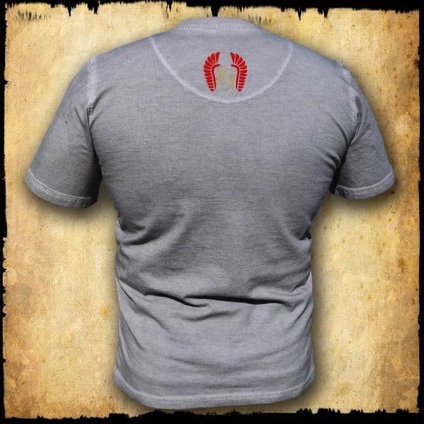 koszulka patriotyczna, męska - szyszak 2, szara spierana tyl