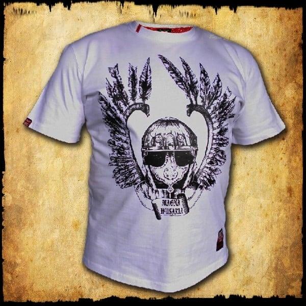 koszulka patriotyczna, męska - szyszak, biała przod