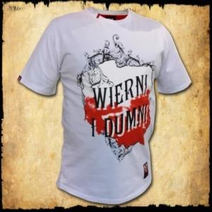 koszulka patriotyczna, męska - wierni, biała przod